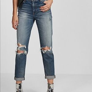 High Waisted Ripped Girlfriend Jeans
